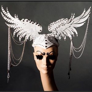New custom angel wings headpiece white silver